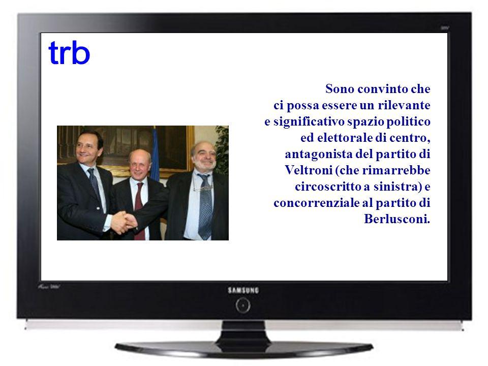 Sono convinto che ci possa essere un rilevante e significativo spazio politico ed elettorale di centro, antagonista del partito di Veltroni (che rimarrebbe circoscritto a sinistra) e concorrenziale al partito di Berlusconi.
