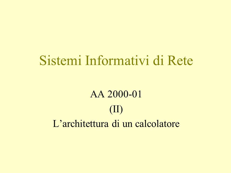 Sistemi Informativi di Rete AA 2000-01 (II) L'architettura di un calcolatore