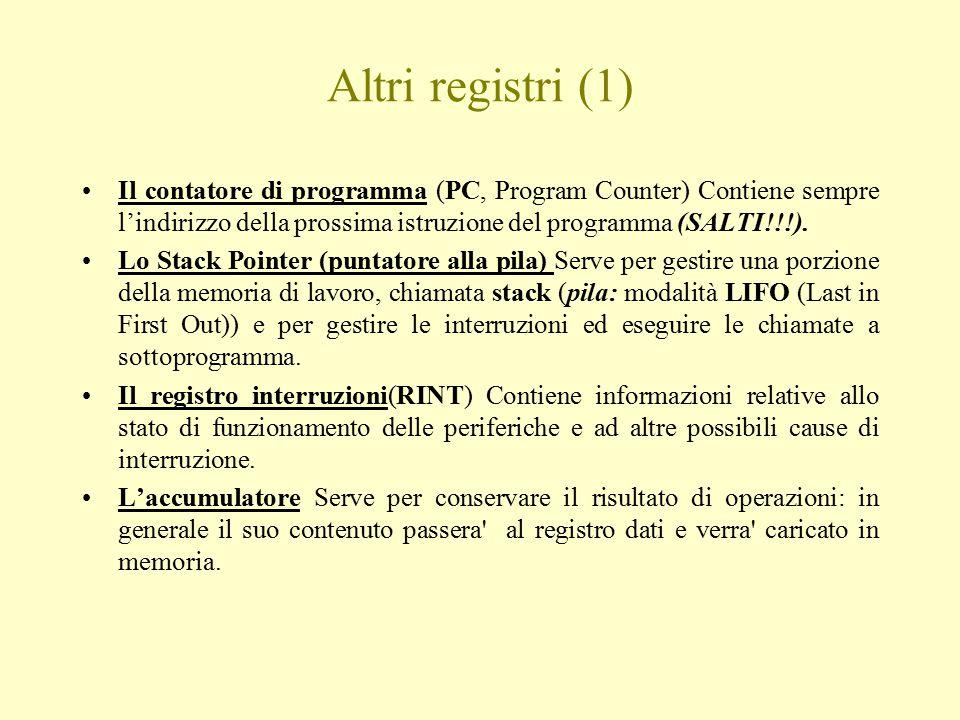 Altri registri (1) Il contatore di programma (PC, Program Counter) Contiene sempre l'indirizzo della prossima istruzione del programma (SALTI!!!). Lo