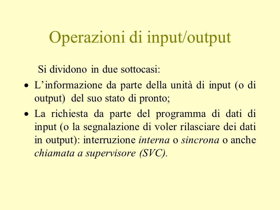 Operazioni di input/output Si dividono in due sottocasi:  L'informazione da parte della unità di input (o di output) del suo stato di pronto;  La richiesta da parte del programma di dati di input (o la segnalazione di voler rilasciare dei dati in output): interruzione interna o sincrona o anche chiamata a supervisore (SVC).