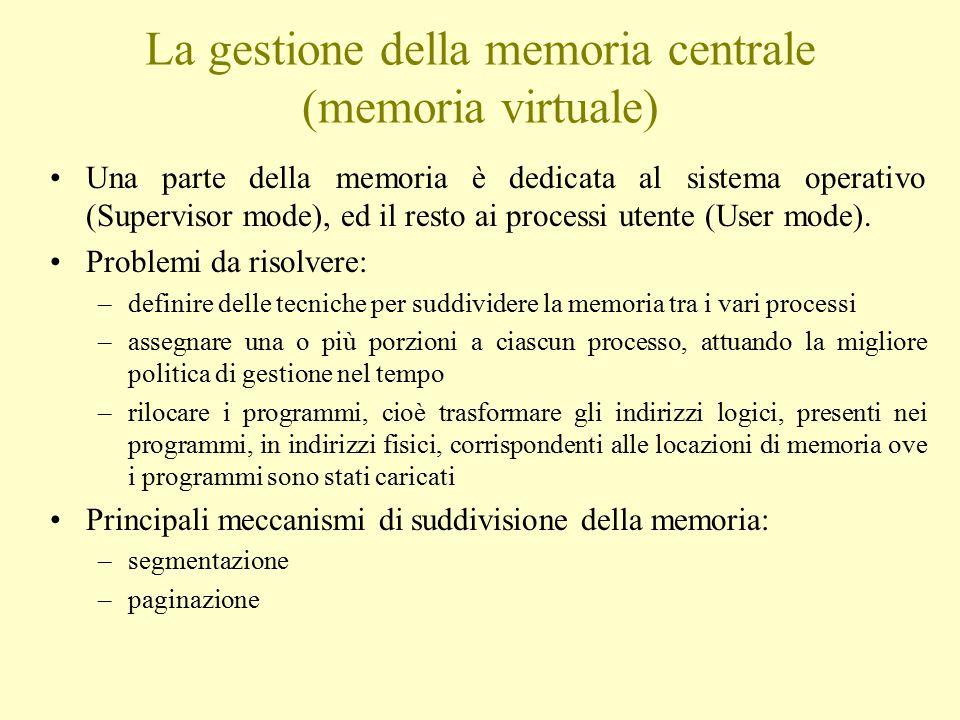 La gestione della memoria centrale (memoria virtuale) Una parte della memoria è dedicata al sistema operativo (Supervisor mode), ed il resto ai processi utente (User mode).