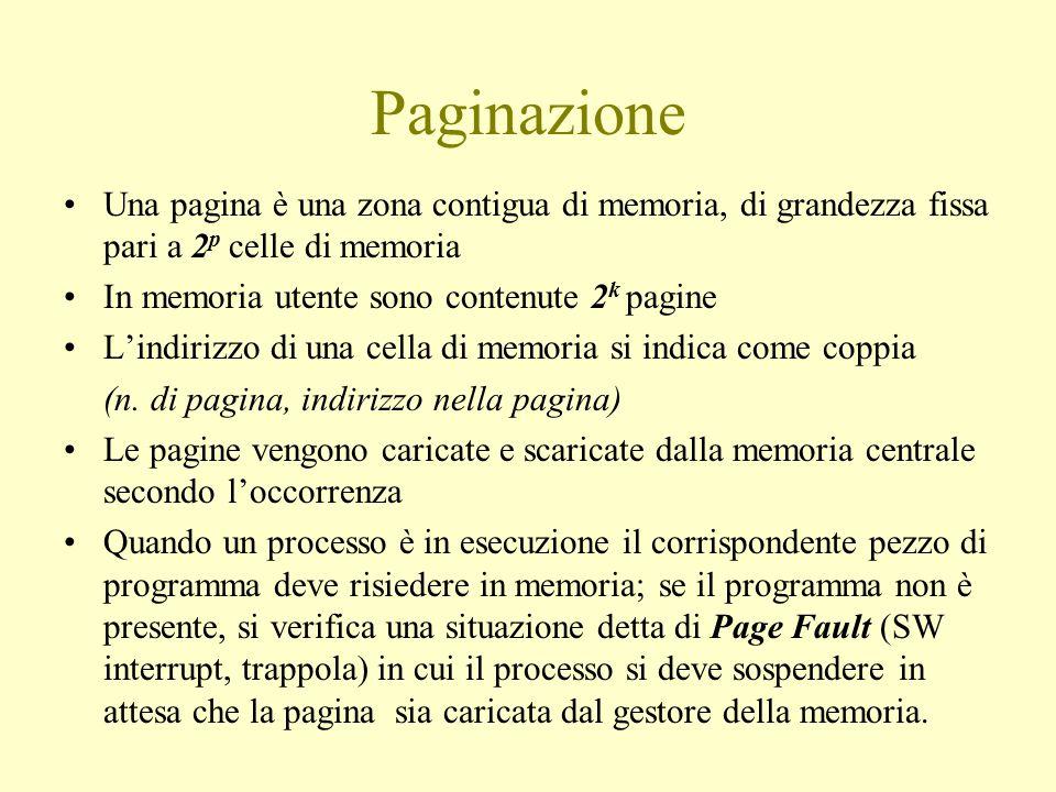 Paginazione Una pagina è una zona contigua di memoria, di grandezza fissa pari a 2 p celle di memoria In memoria utente sono contenute 2 k pagine L'indirizzo di una cella di memoria si indica come coppia (n.