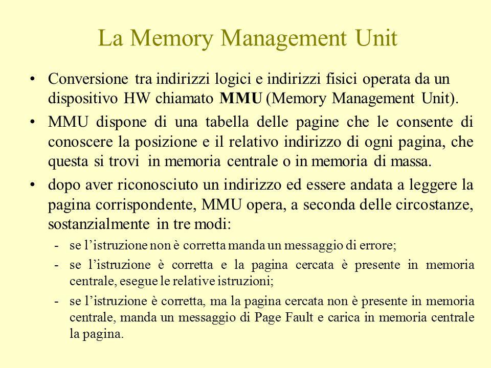 La Memory Management Unit Conversione tra indirizzi logici e indirizzi fisici operata da un dispositivo HW chiamato MMU (Memory Management Unit). MMU