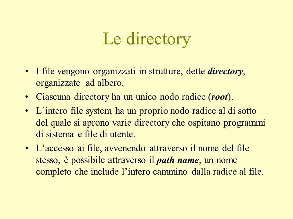 Le directory I file vengono organizzati in strutture, dette directory, organizzate ad albero. Ciascuna directory ha un unico nodo radice (root). L'int