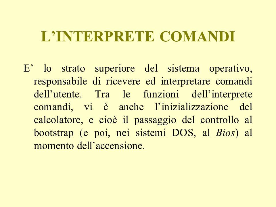 L'INTERPRETE COMANDI E' lo strato superiore del sistema operativo, responsabile di ricevere ed interpretare comandi dell'utente. Tra le funzioni dell'