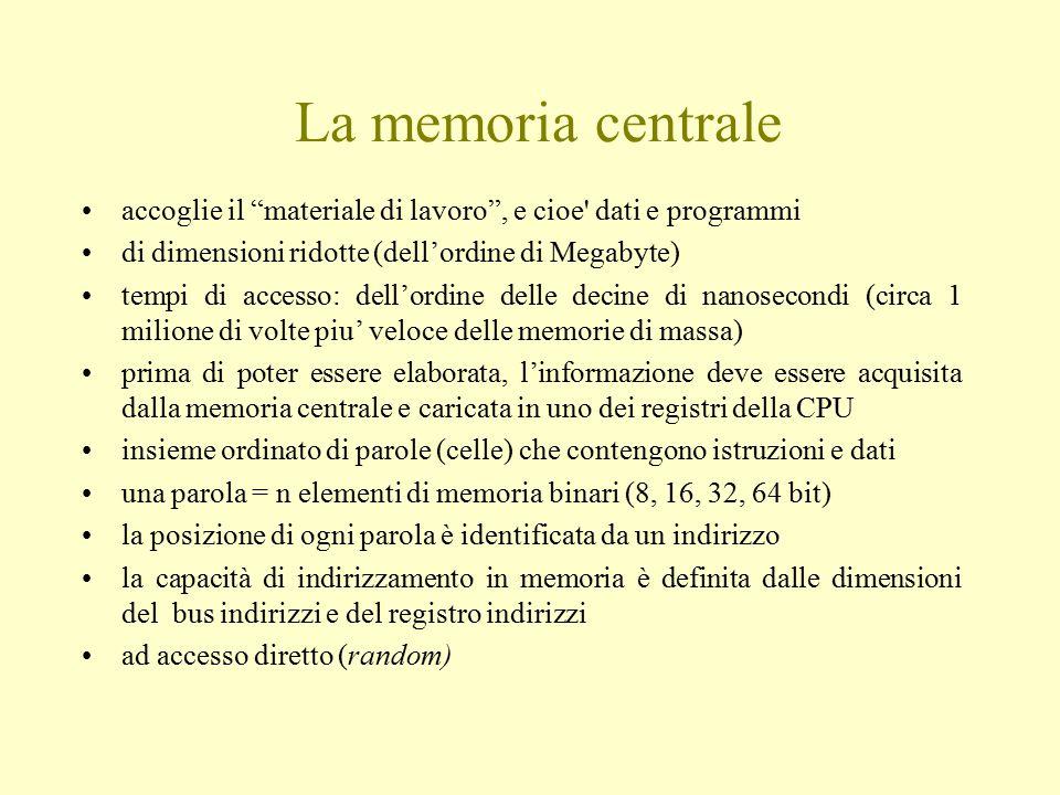 """La memoria centrale accoglie il """"materiale di lavoro"""", e cioe' dati e programmi di dimensioni ridotte (dell'ordine di Megabyte) tempi di accesso: dell"""