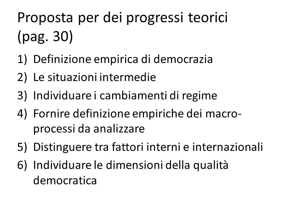Proposta per dei progressi teorici (pag. 30) 1)Definizione empirica di democrazia 2)Le situazioni intermedie 3)Individuare i cambiamenti di regime 4)F