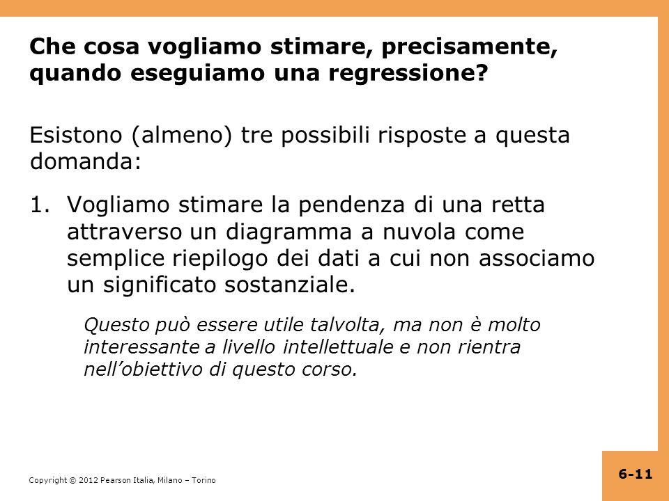 Copyright © 2012 Pearson Italia, Milano – Torino Che cosa vogliamo stimare, precisamente, quando eseguiamo una regressione.