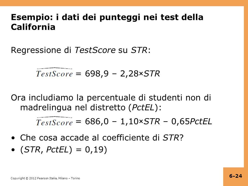 Copyright © 2012 Pearson Italia, Milano – Torino Esempio: i dati dei punteggi nei test della California Regressione di TestScore su STR: = 698,9 – 2,28×STR Ora includiamo la percentuale di studenti non di madrelingua nel distretto (PctEL): = 686,0 – 1,10×STR – 0,65PctEL Che cosa accade al coefficiente di STR.