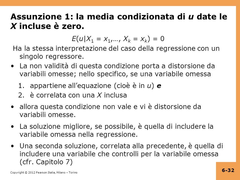 Copyright © 2012 Pearson Italia, Milano – Torino Assunzione 1: la media condizionata di u date le X incluse è zero.