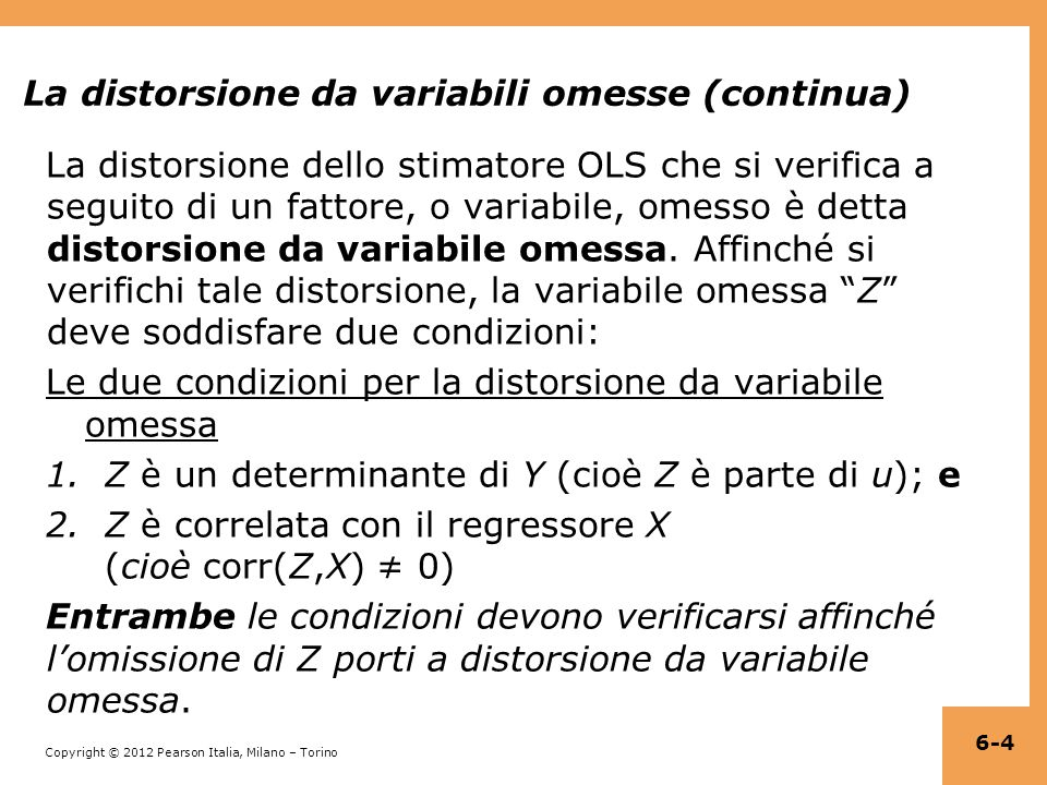 Copyright © 2012 Pearson Italia, Milano – Torino Regressione multipla in STATA reg testscr str pctel, robust; Regression with robust standard errors Number of obs = 420 F( 2, 417) = 223.82 Prob > F = 0.0000 R-squared = 0.4264 Root MSE = 14.464 ------------------------------------------------------------------------------ | Robust testscr | Coef.
