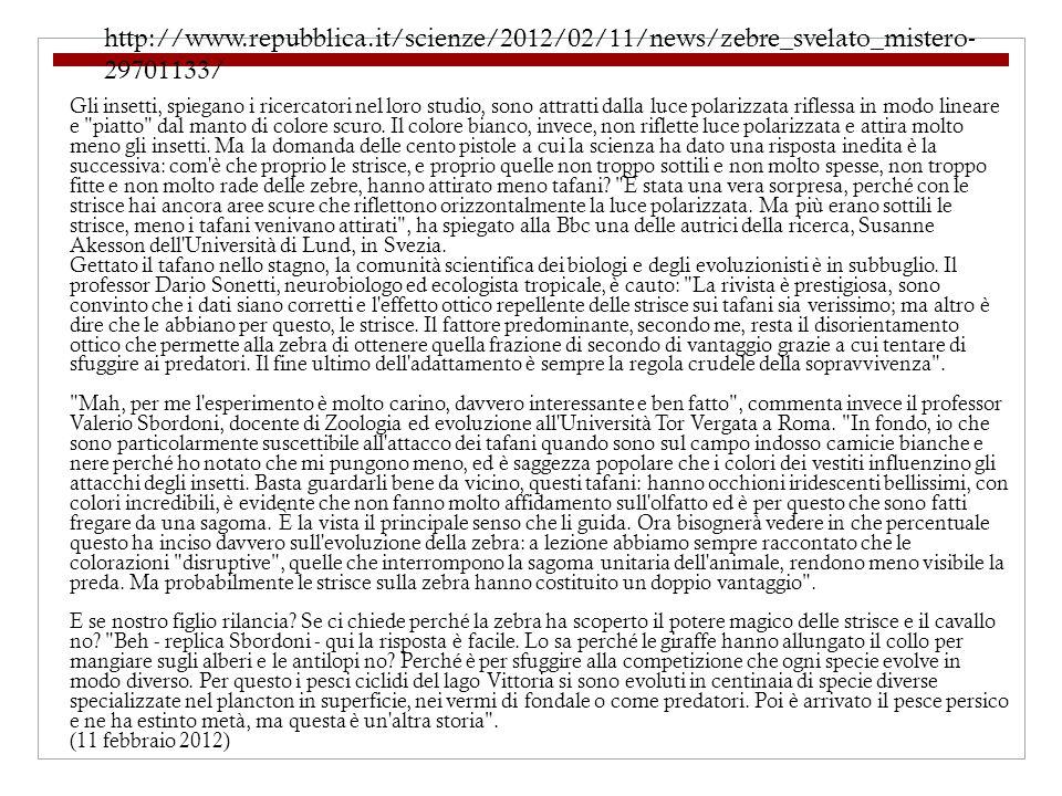 http://www.repubblica.it/scienze/2012/02/11/news/zebre_svelato_mistero- 29701133/ Gli insetti, spiegano i ricercatori nel loro studio, sono attratti dalla luce polarizzata riflessa in modo lineare e piatto dal manto di colore scuro.