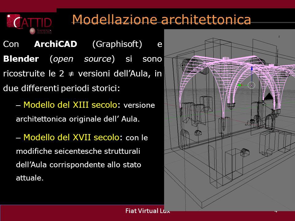 Modellazione architettonica 4 Fiat Virtual Lux Con ArchiCAD (Graphisoft) e Blender (open source) si sono ricostruite le 2 ≠ versioni dell'Aula, in due