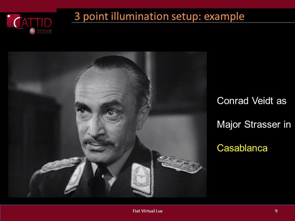 3 point illumination setup: example Fiat Virtual Lux9 Conrad Veidt as Major Strasser in Casablanca