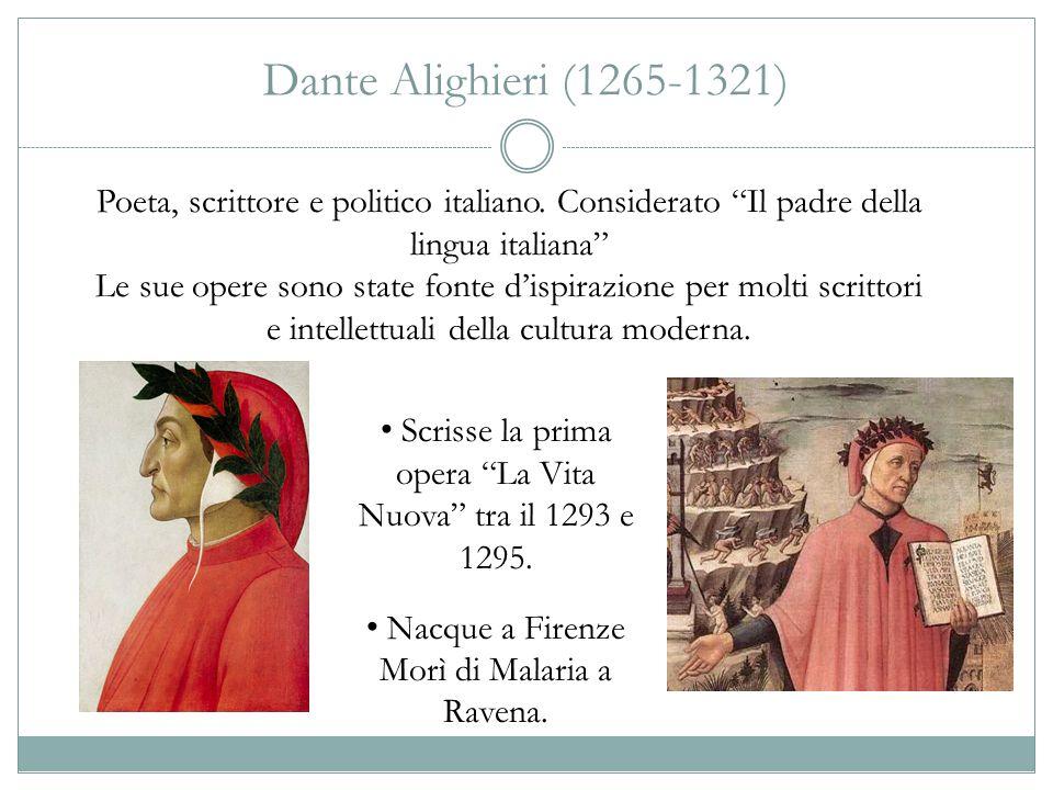 """Dante Alighieri (1265-1321) Scrisse la prima opera """"La Vita Nuova"""" tra il 1293 e 1295. Nacque a Firenze Morì di Malaria a Ravena. Poeta, scrittore e p"""