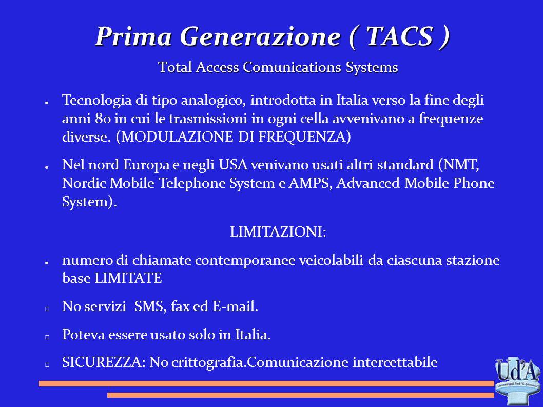 Prima Generazione ( TACS ) Total Access Comunications Systems ● Tecnologia di tipo analogico, introdotta in Italia verso la fine degli anni 80 in cui