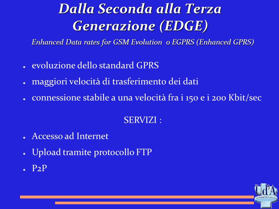 Dalla Seconda alla Terza Generazione (EDGE) ● evoluzione dello standard GPRS ● maggiori velocità di trasferimento dei dati ● connessione stabile a una