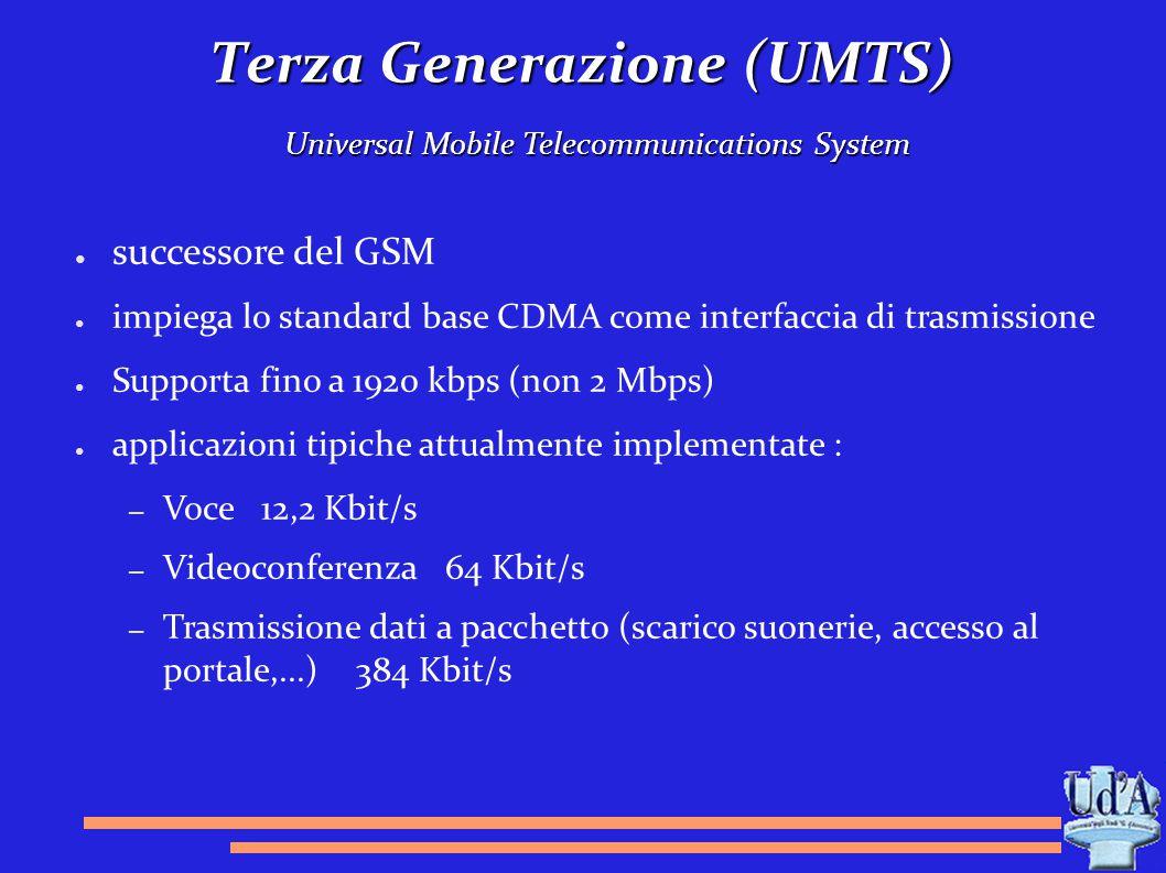Terza Generazione (UMTS) Universal Mobile Telecommunications System ● successore del GSM ● impiega lo standard base CDMA come interfaccia di trasmissi