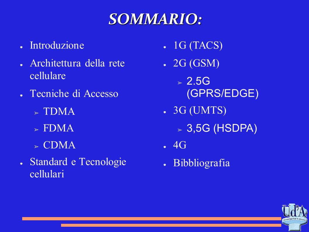 SOMMARIO: ● Introduzione ● Architettura della rete cellulare ● Tecniche di Accesso ➢ TDMA ➢ FDMA ➢ CDMA ● Standard e Tecnologie cellulari ● 1G (TACS)