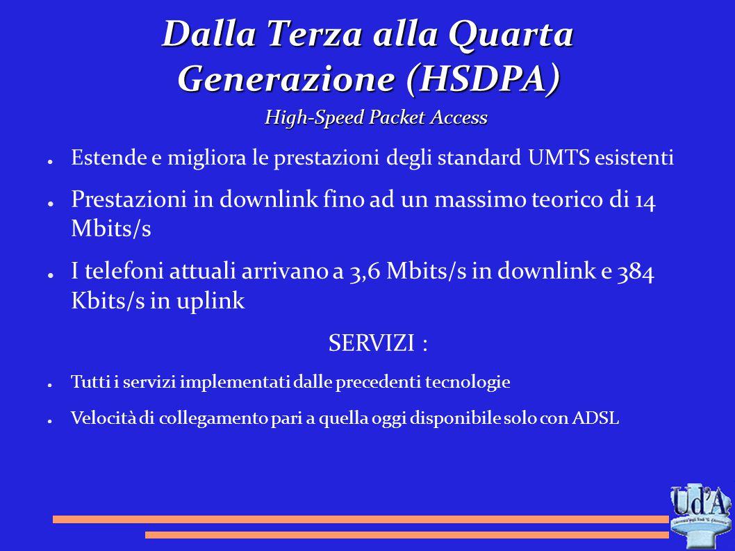 Dalla Terza alla Quarta Generazione (HSDPA) High-Speed Packet Access ● Estende e migliora le prestazioni degli standard UMTS esistenti ● Prestazioni i