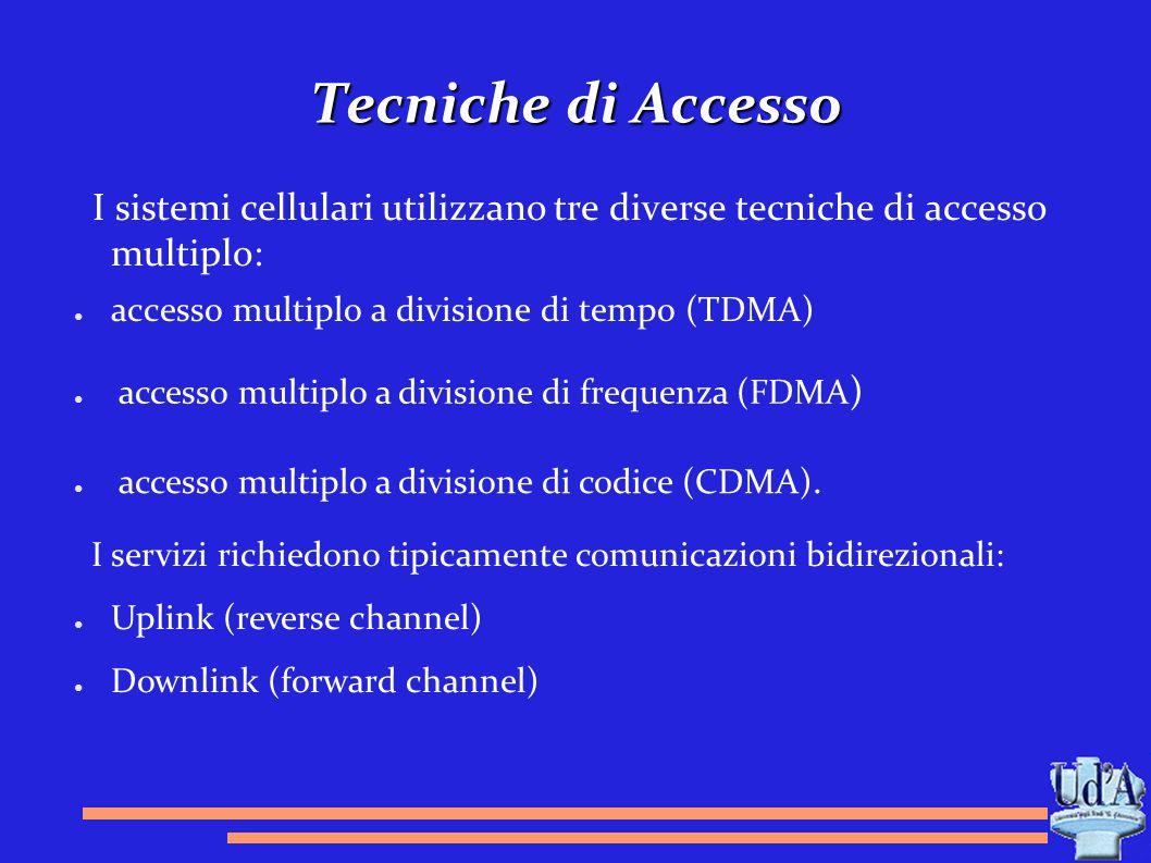 Tecniche di Accesso I sistemi cellulari utilizzano tre diverse tecniche di accesso multiplo: ● accesso multiplo a divisione di tempo (TDMA) ● accesso