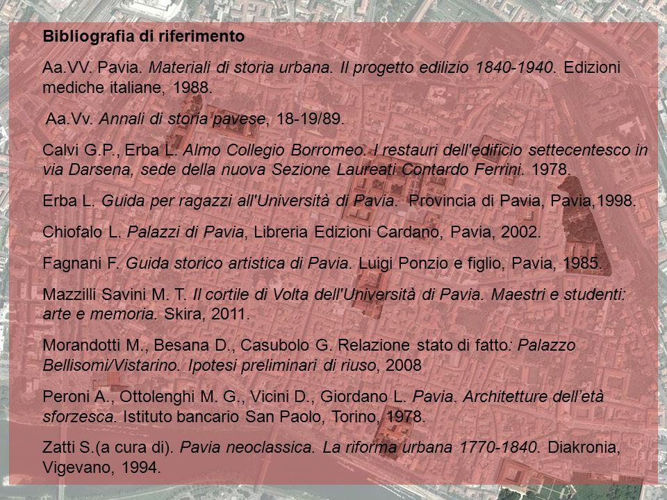 Bibliografia di riferimento Aa.VV. Pavia. Materiali di storia urbana. Il progetto edilizio 1840-1940. Edizioni mediche italiane, 1988. Aa.Vv. Annali d