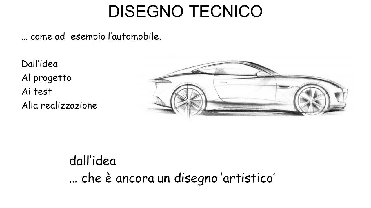 DISEGNO TECNICO … come ad esempio l'automobile. Dall'idea Al progetto Ai test Alla realizzazione dall'idea … che è ancora un disegno 'artistico'