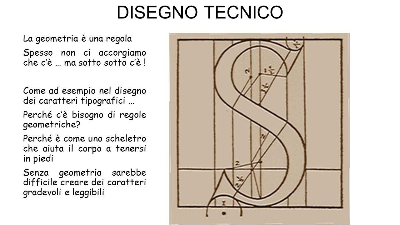 DISEGNO TECNICO La geometria è una regola Spesso non ci accorgiamo che c'è … ma sotto sotto c'è ! Come ad esempio nel disegno dei caratteri tipografic