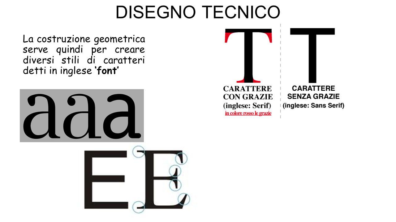 La costruzione geometrica serve quindi per creare diversi stili di caratteri detti in inglese 'font'