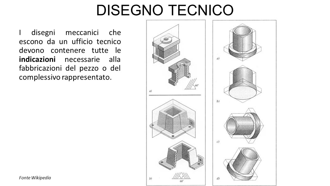 DISEGNO TECNICO I disegni meccanici che escono da un ufficio tecnico devono contenere tutte le indicazioni necessarie alla fabbricazioni del pezzo o del complessivo rappresentato.