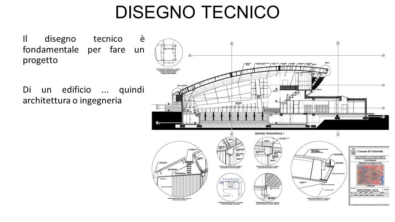 DISEGNO TECNICO Il disegno tecnico è fondamentale per fare un progetto Di un edificio... quindi architettura o ingegneria