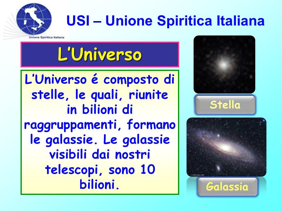 USI – Unione Spiritica Italiana L'Universo é composto di stelle, le quali, riunite in bilioni di raggruppamenti, formano le galassie.