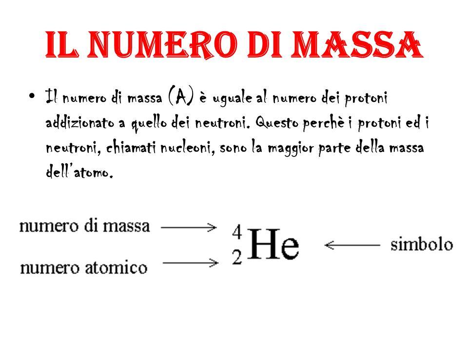 IL NUMERO DI MASSA Il numero di massa (A) è uguale al numero dei protoni addizionato a quello dei neutroni.
