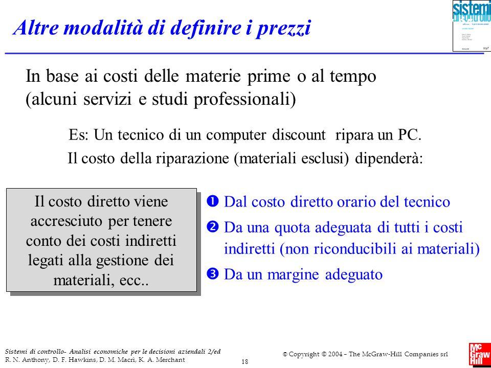 Sistemi di controllo- Analisi economiche per le decisioni aziendali 2/ed R. N. Anthony, D. F. Hawkins, D. M. Macrì, K. A. Merchant © Copyright © 2004