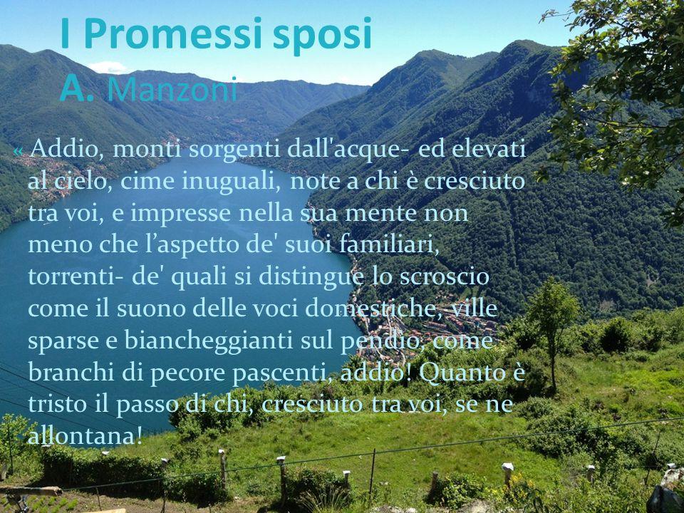 I Promessi sposi A. Manzoni « Addio, monti sorgenti dall'acque- ed elevati al cielo, cime inuguali, note a chi è cresciuto tra voi, e impresse nella s