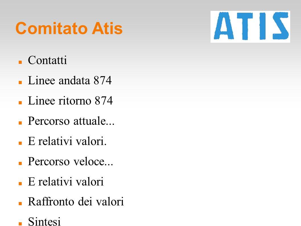 Comitato Atis Contatti Linee andata 874 Linee ritorno 874 Percorso attuale... E relativi valori. Percorso veloce... E relativi valori Raffronto dei va