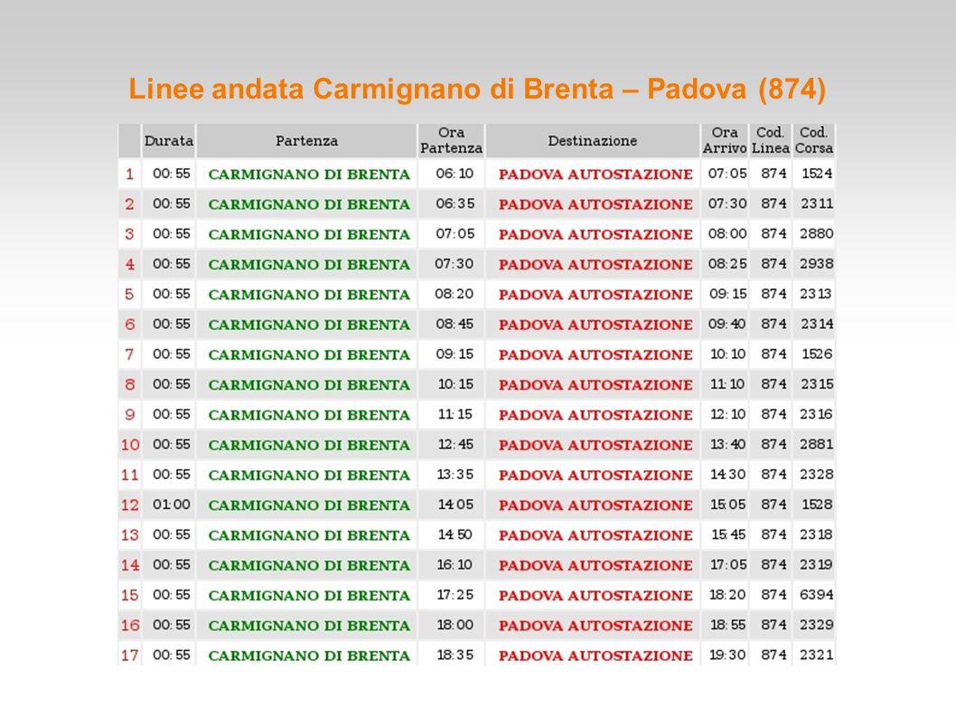 Linee andata Carmignano di Brenta – Padova (874)