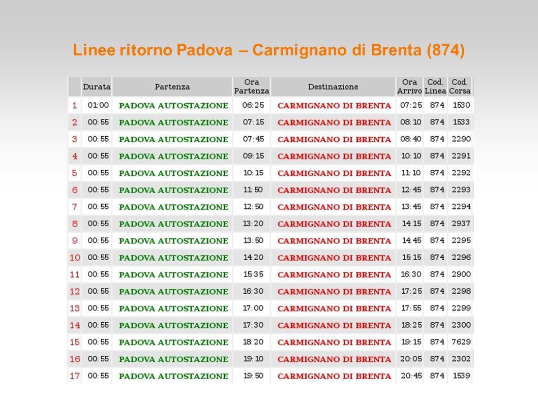 Linee ritorno Padova – Carmignano di Brenta (874)
