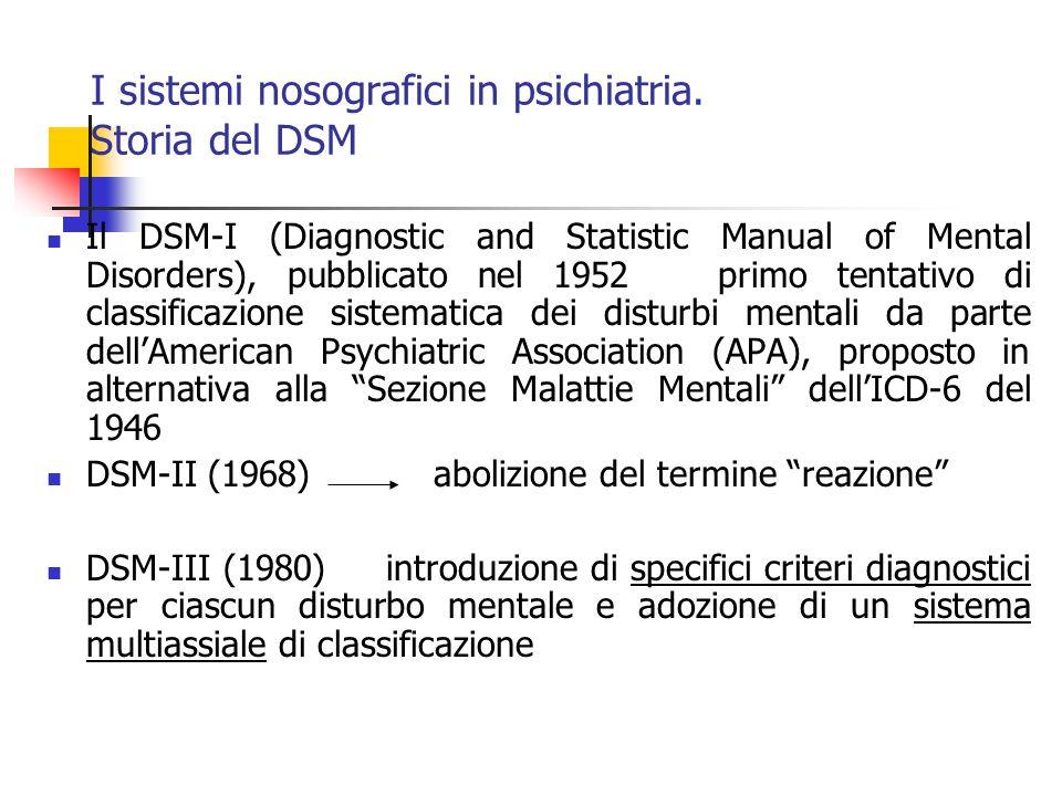 I sistemi nosografici in psichiatria.