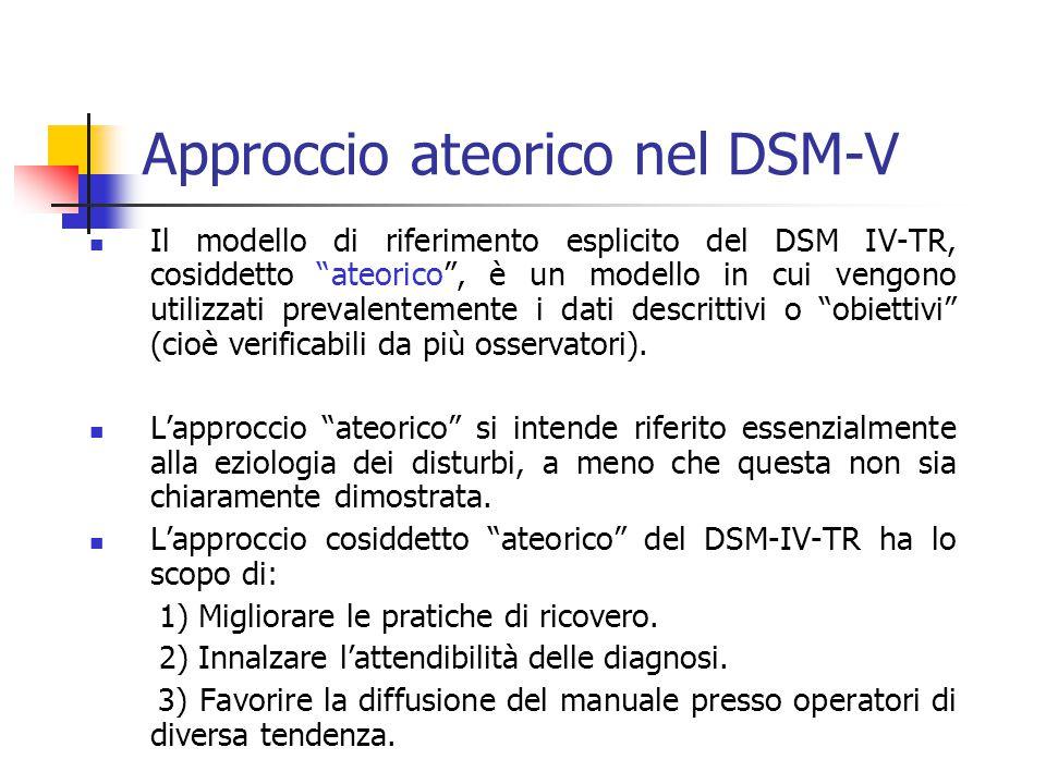 Approccio ateorico nel DSM-V Il modello di riferimento esplicito del DSM IV-TR, cosiddetto ateorico , è un modello in cui vengono utilizzati prevalentemente i dati descrittivi o obiettivi (cioè verificabili da più osservatori).