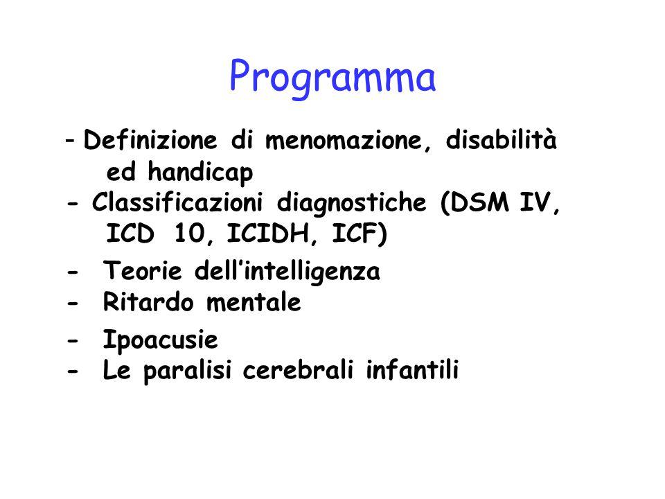 Programma - Definizione di menomazione, disabilità ed handicap - Classificazioni diagnostiche (DSM IV, ICD 10, ICIDH, ICF) - Teorie dell'intelligenza - Ritardo mentale - Ipoacusie - Le paralisi cerebrali infantili