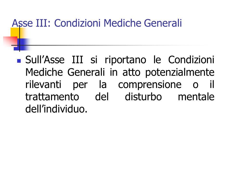 Asse III: Condizioni Mediche Generali Sull'Asse III si riportano le Condizioni Mediche Generali in atto potenzialmente rilevanti per la comprensione o il trattamento del disturbo mentale dell'individuo.