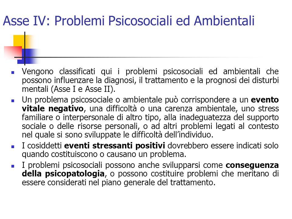 Asse IV: Problemi Psicosociali ed Ambientali Vengono classificati qui i problemi psicosociali ed ambientali che possono influenzare la diagnosi, il trattamento e la prognosi dei disturbi mentali (Asse I e Asse II).