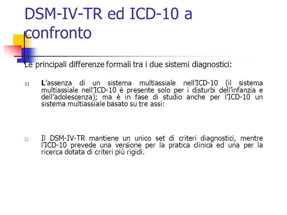 DSM-IV-TR ed ICD-10 a confronto Le principali differenze formali tra i due sistemi diagnostici: 1) L'assenza di un sistema multiassiale nell'ICD-10 (il sistema multiassiale nell'ICD-10 è presente solo per i disturbi dell'infanzia e dell'adolescenza); ma è in fase di studio anche per l'ICD-10 un sistema multiassiale basato su tre assi: 2) Il DSM-IV-TR mantiene un unico set di criteri diagnostici, mentre l'ICD-10 prevede una versione per la pratica clinica ed una per la ricerca dotata di criteri più rigidi.