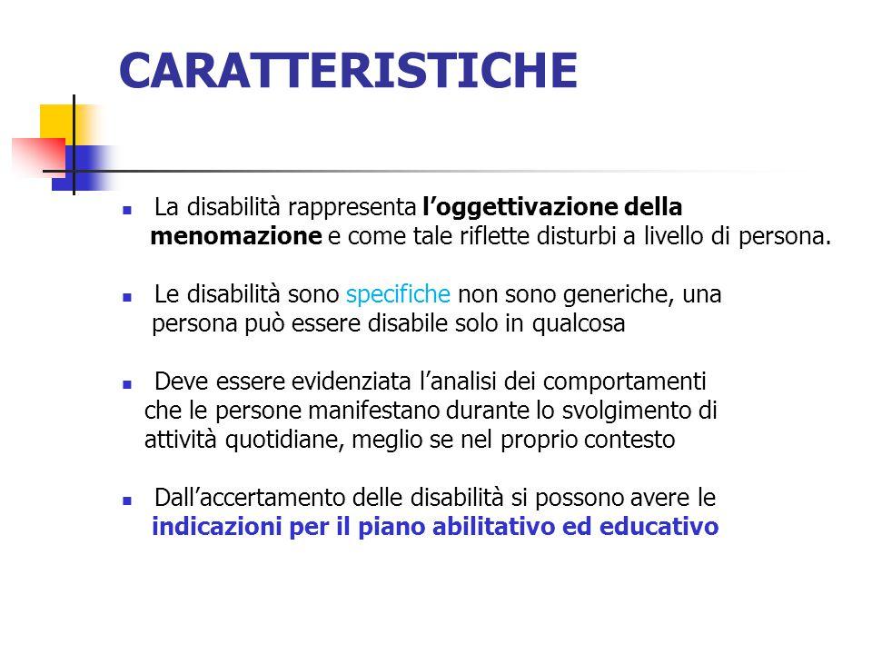 CARATTERISTICHE La disabilità rappresenta l'oggettivazione della menomazione e come tale riflette disturbi a livello di persona.