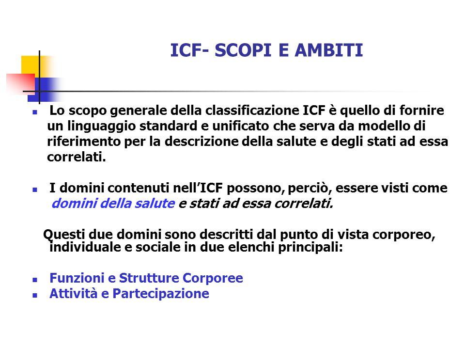 Lo scopo generale della classificazione ICF è quello di fornire un linguaggio standard e unificato che serva da modello di riferimento per la descrizione della salute e degli stati ad essa correlati.