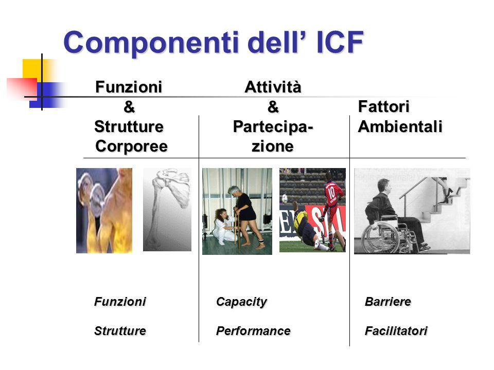 Componenti dell' ICF Funzioni&Strutture Corporee CorporeeAttività&Partecipa-zione Fattori Ambientali BarriereFacilitatoriFunzioniStruttureCapacityPerformance