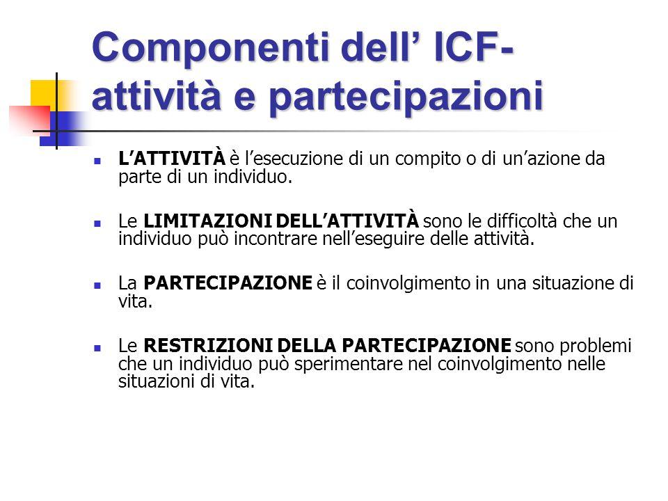 Componenti dell' ICF- attività e partecipazioni L'ATTIVITÀ è l'esecuzione di un compito o di un'azione da parte di un individuo.