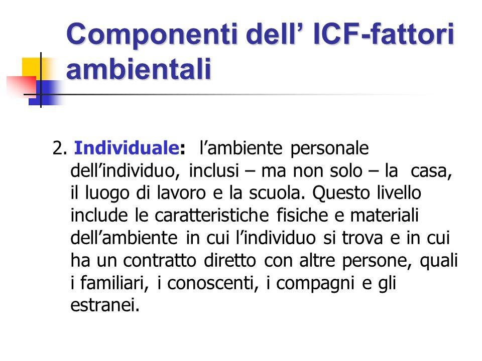 Componenti dell' ICF-fattori ambientali 2.