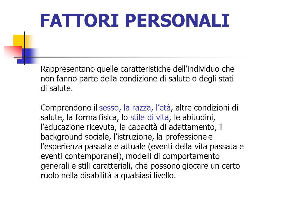 FATTORI PERSONALI Rappresentano quelle caratteristiche dell'individuo che non fanno parte della condizione di salute o degli stati di salute.